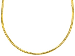 18K Yellow Gold Over Sterling Silver 3MM Polished Omega Necklace 18 Inch