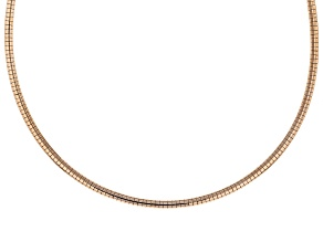 18K Rose Gold Over Sterling Silver 3MM Omega Necklace 18 Inch