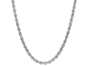 Sterling Silver 2.5MM Diamond Cut Rope Chain Necklace 18 Inch