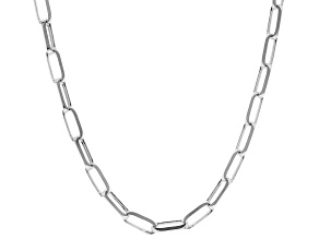 Sterling Silver 3.5MM Elongated Cable Link Chain Necklace 24 Inch