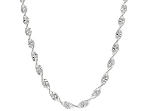 Sterling Silver 3.5MM Diamond Cut Twisted Herringbone Chain Necklace 20 Inch
