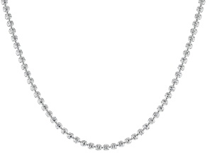 Sterling Silver Diamond Cut Bead Chain Necklace 20 Inch