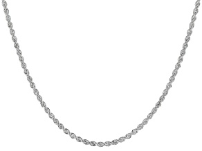 Sterling Silver Diamond Cut Rope Chain Necklace 18 Inch