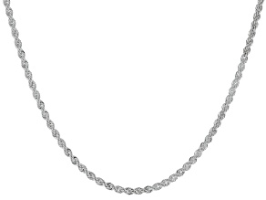 Sterling Silver Diamond Cut Rope Chain Necklace 20 Inch