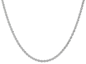 Sterling Silver Diamond Cut Rope Chain Necklace 24 Inch