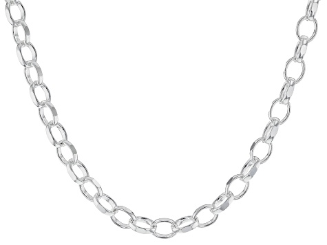 Sterling Silver Polished Oval Link Chain Necklace 18 Inch