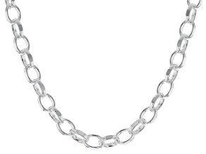 Sterling Silver Polished Oval Link Chain Necklace 24 Inch