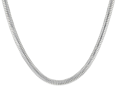 Sterling Silver Diamond Cut Snake Chain Necklace 24 Inch