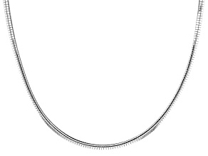 Sterling Silver 3.4MM Omega Necklace 20 Inch