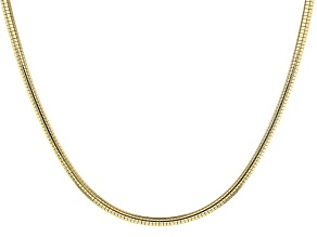 18K Yellow Gold Over Sterling Silver Omega Necklace 20 Inch
