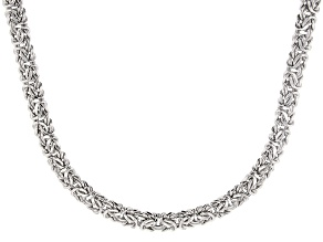 Sterling Silver 7MM  Byzantine Necklace 18 Inch