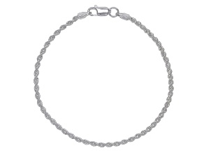 Sterling Silver Diamond Cut Rope Chain Bracelet 7.25 Inch