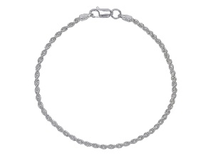 Sterling Silver Diamond Cut Rope Chain Bracelet 8 Inch
