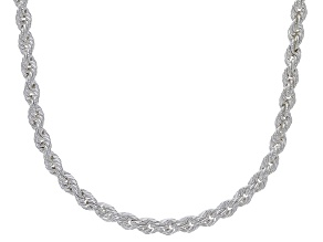 Sterling Silver 2MM Diamond Cut Rope Chain Necklace 20 Inch