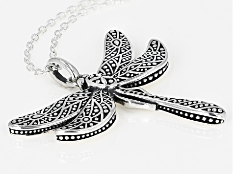Oxidized Sterling Silver Dragon Fly Pendant With 18 Inch Link Chain
