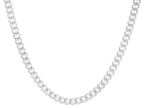 Sterling Silver Polished Curb Chain Necklace 24 Inch