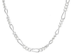 Sterling Silver 5.5MM Polished Figaro Chain Necklace 18 Inch
