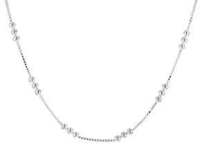 Sterling Silver 1MM Polished Box Link Chain Necklace Station Round Beads 20 Inch