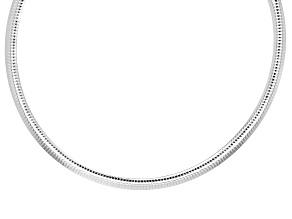 Sterling Silver 7.5MM Polished Omega Necklace 18 Inch