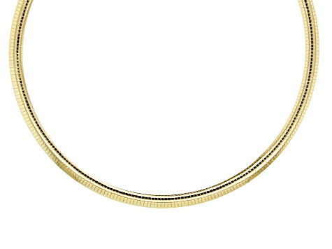 18K Yellow Gold Over Sterling Silver 7.5MM Omega Necklace 18 Inch