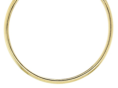 18K Yellow Gold Over Sterling Silver 7.5MM Polished Omega Necklace 20 Inch