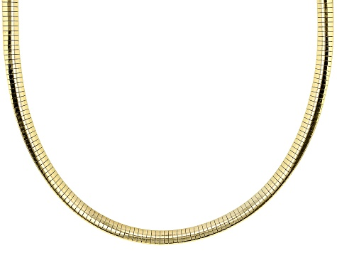 18K Yellow Gold Over Sterling Silver Polished Omega Necklace 18 Inch