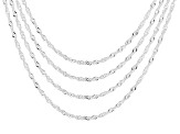 Sterling Silver Singapore Chain Necklace Set