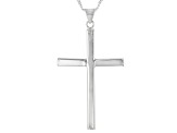 Sterling Silver Cross Pendant With 18 Inch Curb Chain
