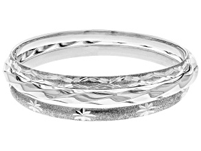 Sterling Silver Diamond Cut Trio Slip on Bangle. 8 inch.