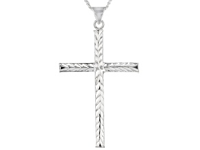 Sterling Silver Hammered Link Cross Pendant With 18 Inch Curb Chain
