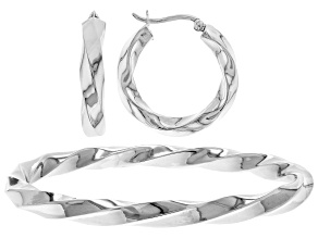 Sterling Silver Twisting Hoop 8 mm Earring and Slip on 8 inch Bangle