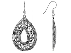 Sterling Silver Teardrop Open Design Artisan Earrings.