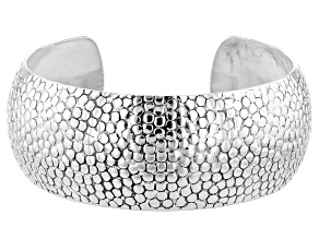 Sterling Silver Scale Textured Cuff Bracelet 7 Inch