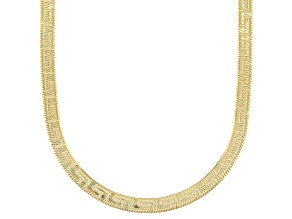 18K Yellow Gold Over Sterling Silver 3.60mm Greek Key Herringbone 18