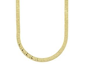 18K Yellow Gold Over Sterling Silver 3.60mm Greek Key Herringbone 20
