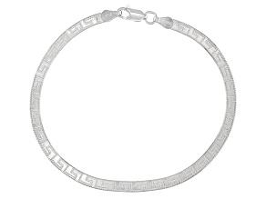 Sterling Silver 3.60mm Greek Key Herringbone Bracelet.