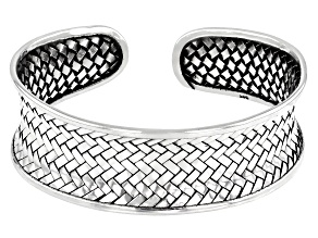 Sterling Silver Weaved Design Open Cuff Bracelet 7 Inches