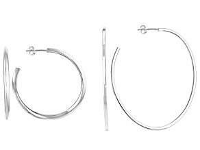 Sterling Silver Semi-Oval Hoop Earrings