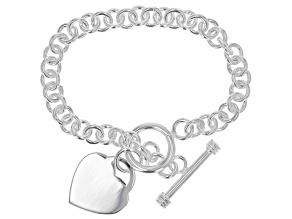 Sterling Silver Rolo Chain Heart Charm Bracelet