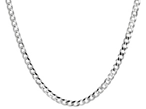 Sterling Silver Curb Link Necklace 24 inch