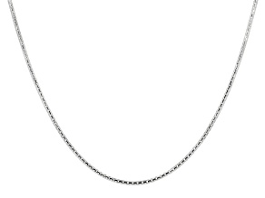 Sterling Silver Rounded Box Chain Adjustable Necklace