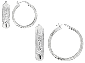 Sterling Silver Diamond Cut Hoop Earrings- Set of 2