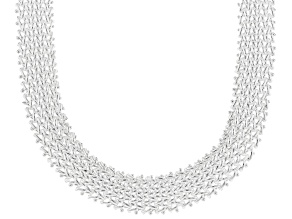 Sterling Silver Hollow Basket Weave Link Chain Necklace 18 Inches