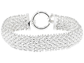 Sterling Silver Hollow Basket Weave Link Chain Bracelet