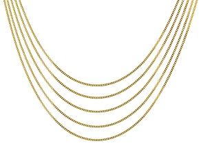 18k Yellow Gold Over Sterling Silver 0.97MM Curb Chain 18 inches Set of 5