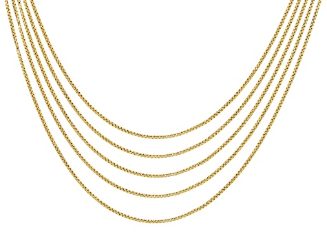 18k Yellow Gold Over Sterling Silver 0.81MM Box Chain 18 inches Set of 5