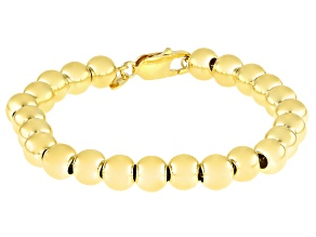 18K Yellow Gold Over Sterling Silver 8MM Bead Bracelet