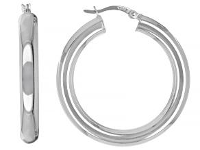 Sterling Silver Hoop Earrings Hollow