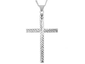 "Sterling Silver Cross Pendant With 18"" Curb Chain"