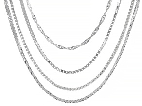 "Sterling Silver Set of 4 24"" Box, Singapore, Popcorn, And Wheat Chain Necklaces"